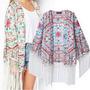 Kimono Com Franjas Estampado Tecido Chifon De Seda Tam. G
