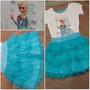 Conjunto Blusa Saia Tutu Frozen Elsa Azul