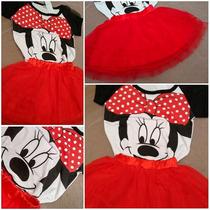 Conjunto Blusa Saia Tutu Mickey Minnie Presente Menina