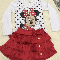 Conjunto Infantil Menina Festa Minnie Vermelha E Rosa