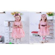 Vestido Rosa Festa Princesa Menina Baby Infantil