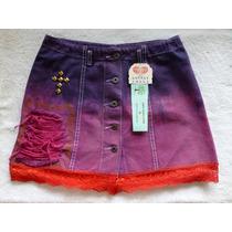 Mini Saia Jeans 42 Tie Dye Desfiados Rendas (degradê)