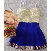 Saia Boneca Azul Com Dourado P