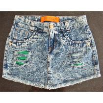 Saia Jeans Bico Rasgada Destroyed Manchada Curta Verão Calor