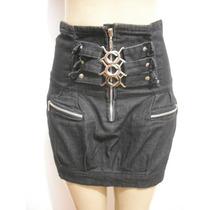 Saia Jeans Cintura Alta Com Fivelas Tam 38 Bom Estado