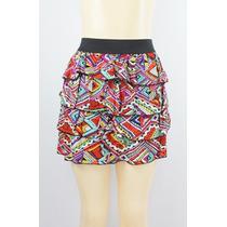 Material Girl Em Camadas Ruffled Skirt Stain Glass Geo