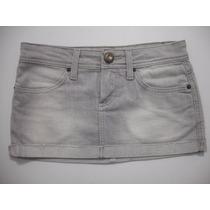 Mini Saia Jeans Cinza Curta Tam 36 Bom Estado