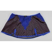 Paramour Skirt Lace Dots Overlay Cetim Preto Azul