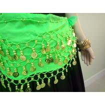Lenço Cigano Com Moedas Douradas Cintura Cigano/umbanda