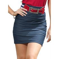 Saia Em Cotton Jeans Com Elastano Linda.