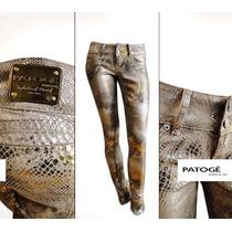 Calça Python Brim Resinado Animal Print Patoge T40 Original