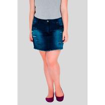 Mini Saia Jeans Desfiada Destroyed Plus Size Moda Feminina