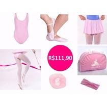 Kit Roupa Uniforme Ballet Infantil 07 Peças Rosa Ou Preto