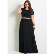 Conjunto Plus Size Saia E Top Cropped