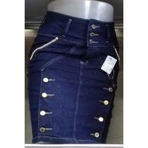 Saia Jeans Lycra Bordadas Botões Cós Super Alta Veste Bem!!!