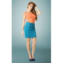 Saia Jeans Color - Laura Rosa Moda Evangélica Frete Gratis