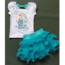 Conjunto Saia Tutu+ Camiseta Elsa Frozen -pronta Entrega!