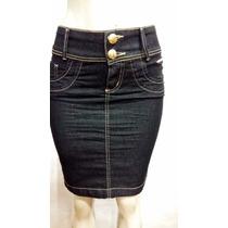 Saia Jeans Laura Rosa Tam 34/36 Compr. 50cm - Promoção