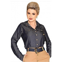 Camisa Jeans Moda Evangélica Feminina Titanium P-g-xg-xxg