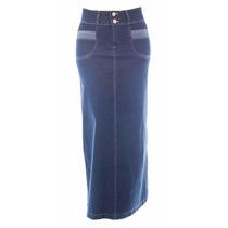 Saia Jeans Longa C/ Detalhe Bolsos (38 A 52) - Pura Flor