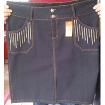 Lindas Saias Jeans Moda Evangélica Bordadas Longa+ Lycra
