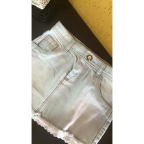 Saia Jeans Infantil Com Renda