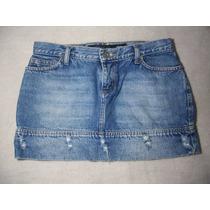 Saia Curta Jeans. Linda Lavagem, Com Desfiados! Tamanho 38.