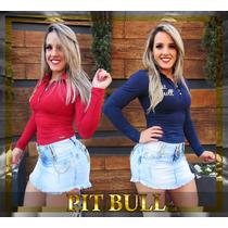 Mini Saia Pit Bull Jeans Com Bojo Removível Da Pitbull Jeans