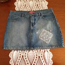 Mini Saia Jeans Bobson Curta Azul Com Bordados Aplicações 42