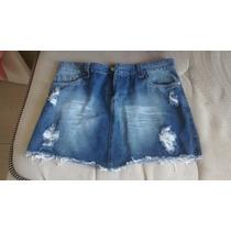 Mini Saia Jeans E Calca De Bandagem Cintura Alta