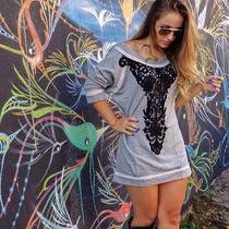 Lindo Vestido Em Moletinho E Aplicaçao Coleçao Inverno 2014