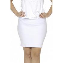 Saia Bandage Branco Plus Size Moda Maior C/elastano Tam. 54