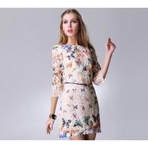 Vestido Renda Borboletas Inspired Farm Importado P