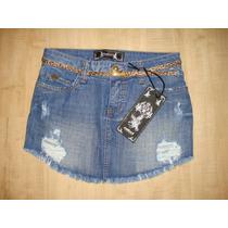 637- Saia Jeans Colcci Com Det. Em Rasgado E Cinto