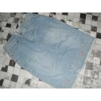 Saia Jeans Bordada Com Pedrinha Vermelha E Fio Prateado - M