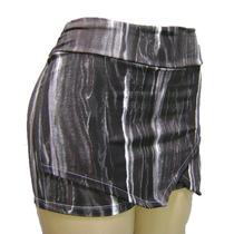 Saia Shorts Assimétrico Em Suplex Estampado Look Tendência