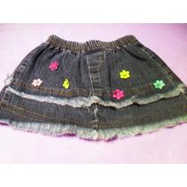 Linda Mini Saia Menina Jeans Bordado Flores Veste 1 - 2 Anos