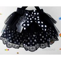 Mini Saia Infantil Tule Babados Renda Laço Festa (1/3 Anos)