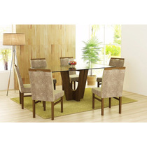Conjunto De Mesa Base Com 6 Cadeiras Estofada Tribo.