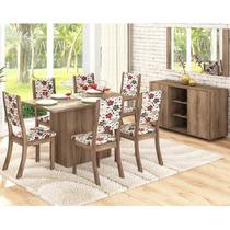 Conjunto Sala De Jantar Mesa E 6 Cadeiras Buffet E Moldura