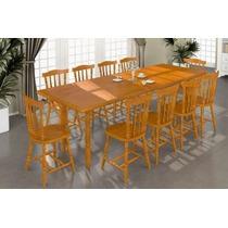 Mesa De Jantar Com 10 Cadeiras Madeira Maciça Mel Luzstor...