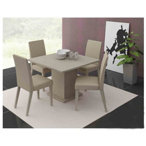 Conjunto Sala De Jantar Mesa E 4 Cadeiras Olga Madesa Bege