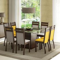 Conjunto Sala De Jantar Mesa E 8 Cadeiras Louise Madesa