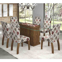 Conjunto Sala De Jantar Mesa Las Vegas 6 Cadeiras Fenix