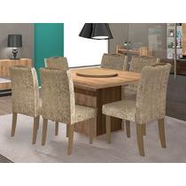 Mesa De Jantar Napoli Tampo Giratório Com 6 Cadeiras Comfort