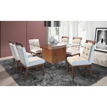 Sala De Jantar 6 Cadeiras + Base Da Mesa Sem Vidro