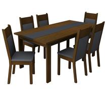 Sala De Jantar Veneza Mesa E 6 Cadeiras-imbuia/preto-madesa