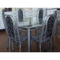 Mesa De Vidro C\ 6 Cadeiras Hexagonal || Preço Bom Colchões