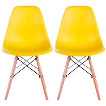 Conjunto 2 Cadeiras Pé Palito Amarelas Em Abs