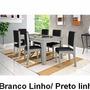 Mesa De Jantar Onix Com 6 Cadeiras Branco/ Linho